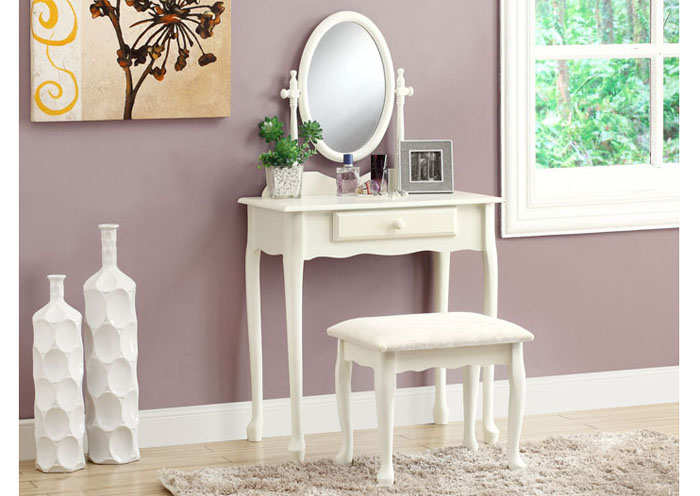 vanity set 2pcs set antique white bedroom vanities accents tag warehouse. Black Bedroom Furniture Sets. Home Design Ideas