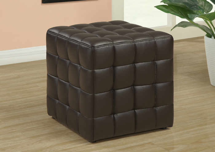 ottoman dark brown leather look fabric accents accent ottomans tag warehouse. Black Bedroom Furniture Sets. Home Design Ideas