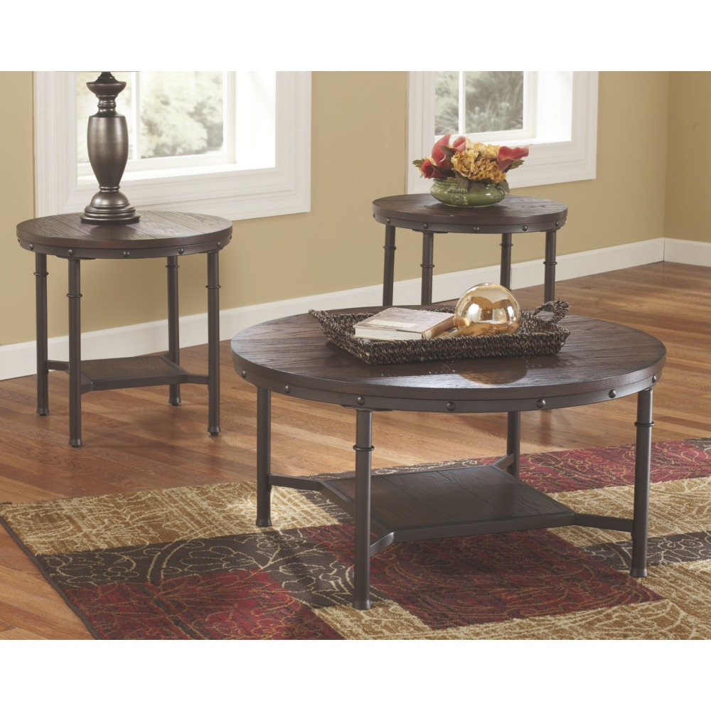 - 3 PIECE ROUND RUSTIC TABLE SET Accent Tables, Accents, Coffee